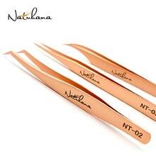 NATUHANA Anti-Static Eyelash Extension Tweezer Gold Stainless Steel Eyelashes Tweezers Professional for Volume Fan Makeup Tools
