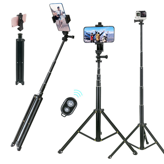 """Lightweight Selfie Stick Tripod Stand 51"""" Extendable Phone Mount Stand Wireless Remote For  iPhone 11 Pro XR Gopro Digtal Camera"""