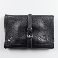 Durable Portable Black Genuine Leather Pipe Pouch/Case/Bag for 4 Smoking Pipes large capacity multi functional accessories