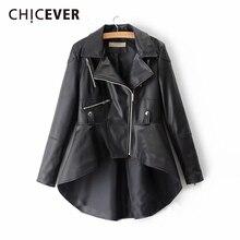 CHICEVER بولي Leather سترة نسائية جلدية التلبيب طوق كم طويل غير متناظرة حجم كبير معطف غير رسمي الإناث 2020 موضة الملابس الجديدة