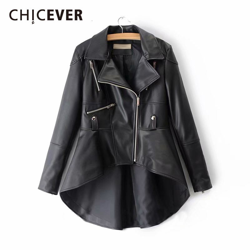 CHICEVER PU Leather Women's Jacket Lapel Collar Long Sleeve Asymmetrical Plus Size Casual Coat Female 2020 Fashion New Clothes