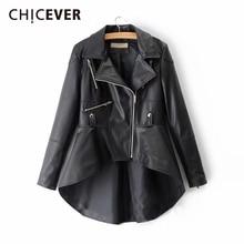 Galever jaqueta feminina de couro pu, gola com lapela, manga comprida assimétrica, casaco casual plus size 2020, novas roupas da moda