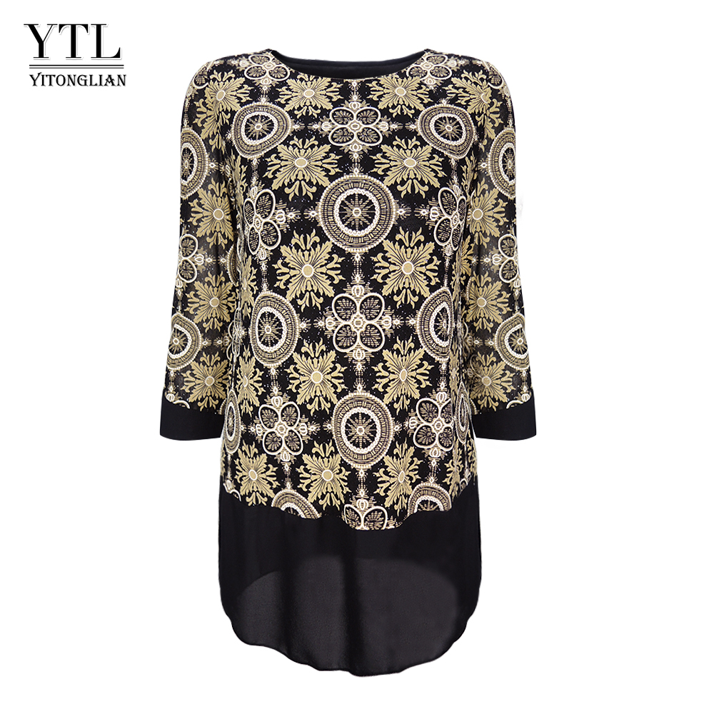 Yitonglian Women's Classic Print Patchwork 3/4 Sleeve Tunic Blouse Casual Plus Size Tops H253 image
