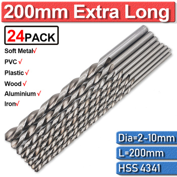 цена на Extra Long Drill Bit 200mm High Speed Steel Twist Drill Bits 2/3/4/5/6/7/8/9/10mm For Metal Drilling HSS Extra Long Round Metal