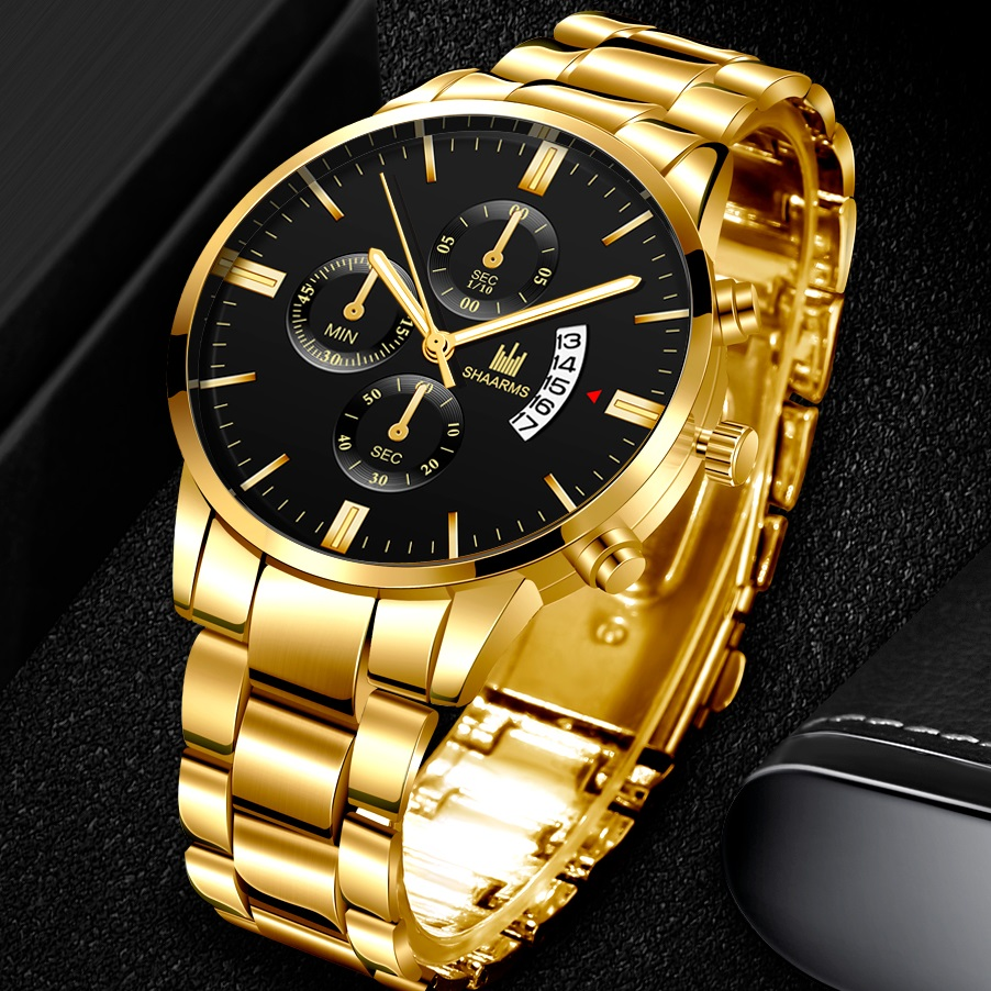 Men Luxury Business Quartz Military Watch Golden Stainless Steel Band Mens Watches Date Calendar Male Clock Relogio Dropshipping