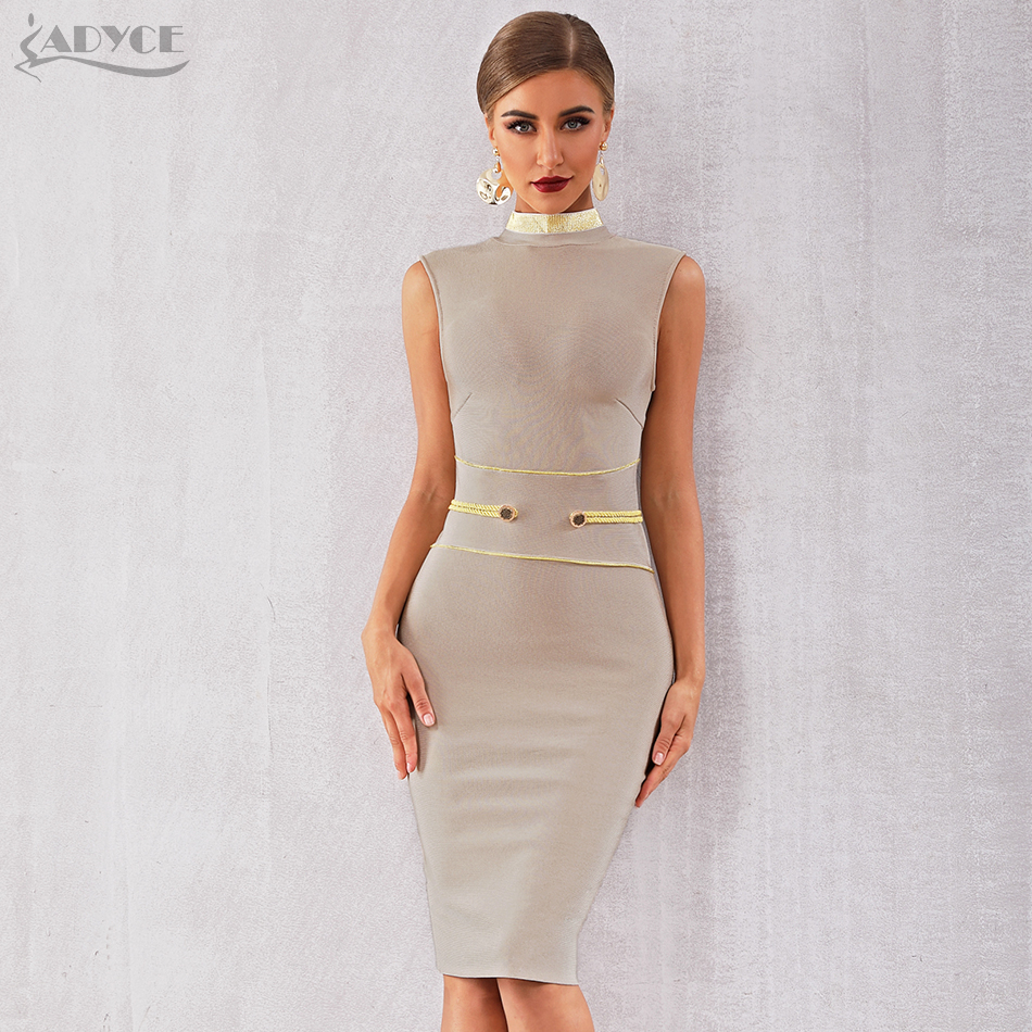 Adyce 2020 New Summer Bandage Dress Women Elegant Celebrity Evening Party Dress Vestidos Sexy Apricot Sleeveless Tank Club Dress