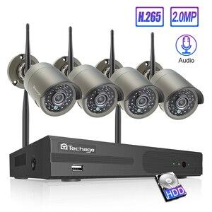 Image 1 - Techage 8CH bezprzewodowy System CCTV Audio 1080P 4 sztuk 2MP kamery CCTV kamera zewnętrzna zabezpieczenia ip System wideo zestaw do nadzorowania