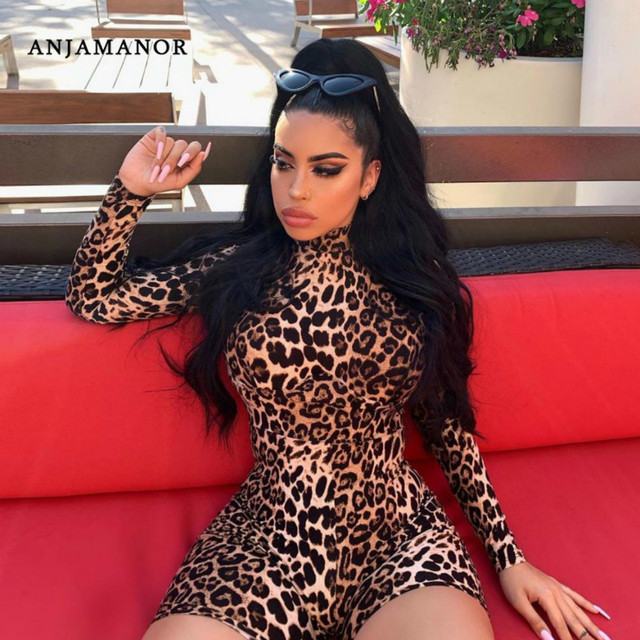 ANJAMANOR Cheetah Print Sexy Rompers Playsuit Fall Clothes for Women Clubwear High Neck Long Sleeve Bodycon Jumpsuit D83-I62 1