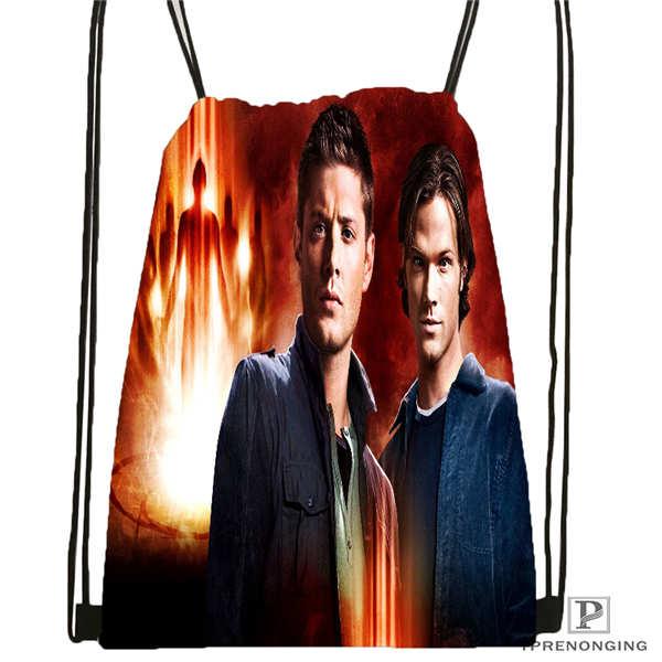 Custom Supernatural @02-Drawstring Backpack Bag Cute Daypack Kids Satchel (Black Back) 31x40cm#180611-01-30