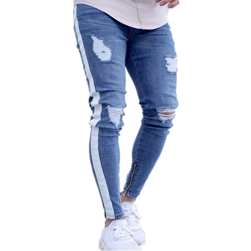New Style Men's Jeans Trend Knee Hole Zipper Trousers Plus Size S--4XL