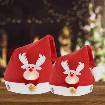 1 sztuk czapki bożonarodzeniowe dla dorosłych dzieci dzieci boże narodzenie na przyjęcie do czapki czapki nowy rok materiały dekoracyjne Snowman Deer czapki świętego mikołaja tanie i dobre opinie WNYZQ CN (pochodzenie) COTTON Adult Children