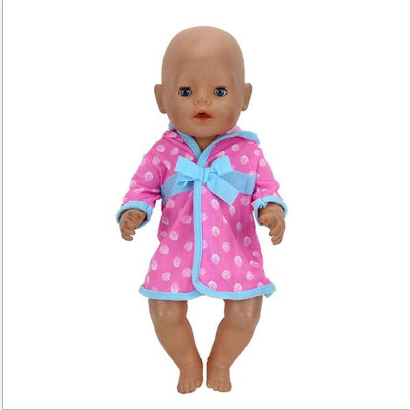 Born Baby Fit 18 Inch 40-43cm Doll Clothes Blue Red Doll Pajama Quilt Bathrobe Accessories Suit For Baby Festival Birthday Gift