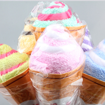 Soft Bath Towel Cone Flower Paper Wrapped Shaped Double Color Towel Ice Cream Cotton Towel Baby Shower Gift Bathing Tools image