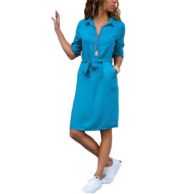 Fashion Turn-down Collar Party Autumn Shirt Dress Women Solid Three Quarter Sleeve Summer Dress Plus Size Casual Vestidos Robe(China)