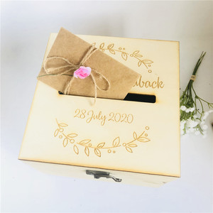 Image 4 - Personalised Bride and Groom Wedding Guests Wish Post Box with wreath Cards Envelopes Drop in Memory Wishing Well Wooden Box