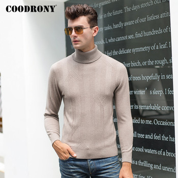 COODRONY Brand Turtleneck Sweater Men Clothing Autumn Winter Thick Warm Slim Sweaters Causal 100% Merino Wool Pullover Men P3030 coodrony brand sweater men zipper turtleneck cardigan men clothing autumn winter thick warm 100% merino wool sweater coat p3026