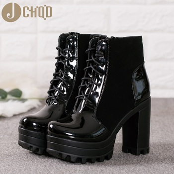 JCHQD Ankle Boots Women Faux Leather Platform Block Chunky Thick Ultra High Heel Gladiator Shoes Bootie European size 36-41