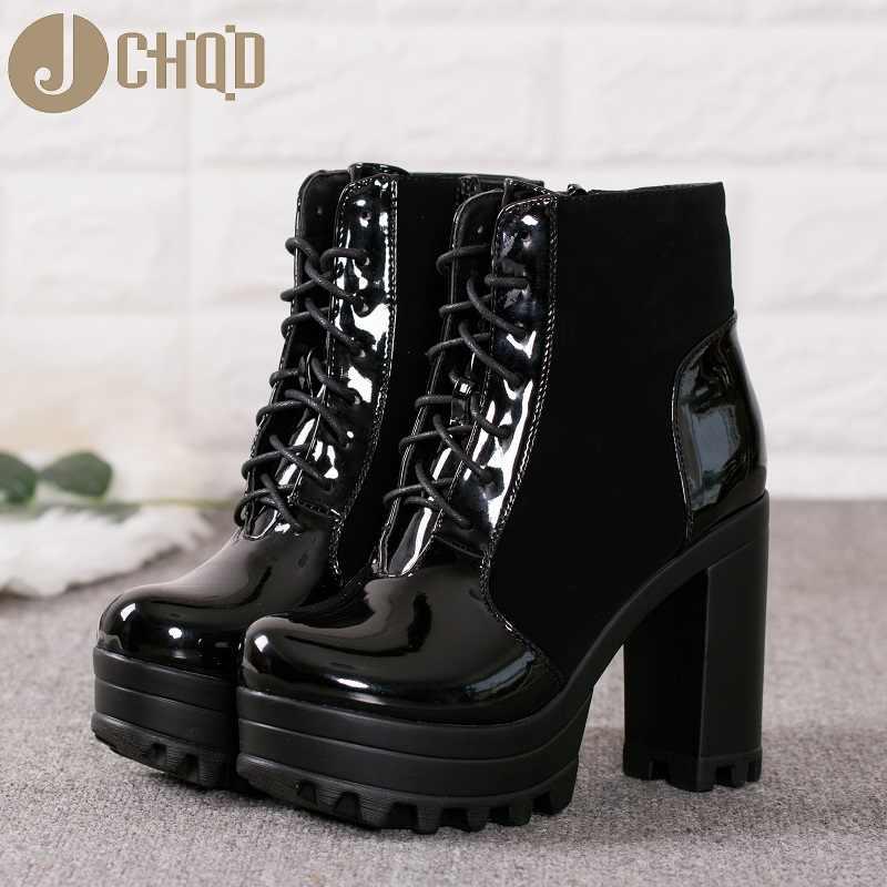 JCHQD Stiefeletten Frauen Faux Leder Plattform Block Chunky Dicke Ultra High Heel Gladiator Schuhe Bootie Europäische größe 36- 41