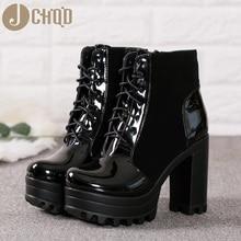JCHQD botki kobiety Faux Leather platforma blok Chunky gruby Ultra wysoki obcas Gladiator buty Bootie europejski rozmiar 36 41