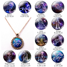 New 12 Constellation Crystal Pendant Necklace Twelve Zodiac Logo Glass Convex Punk Jewelry Inlaid Woman Man Gift Choker