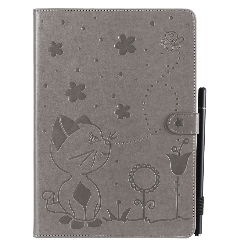 Gray Purple For Apple iPad 10 2 inch 2019 Case Cartoon Cat Embossing Leather Cover For iPad 10