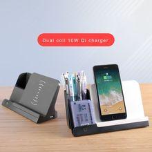 10W Draadloze Oplader Standhouder Met Bureau Pen Potlood Organisator Opslag Container Draadloos Opladen Voor Alle Qi Mobiele Telefoons