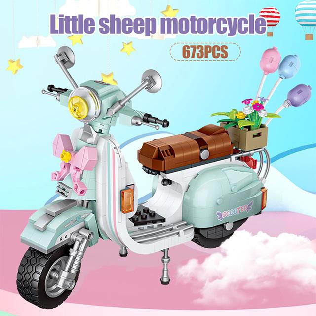 673PCS Mini Luxury Motorcycle Sheep Vehicle Model Building Blocks DIY Bricks Educational Creator Blocks Toys for Children Girls