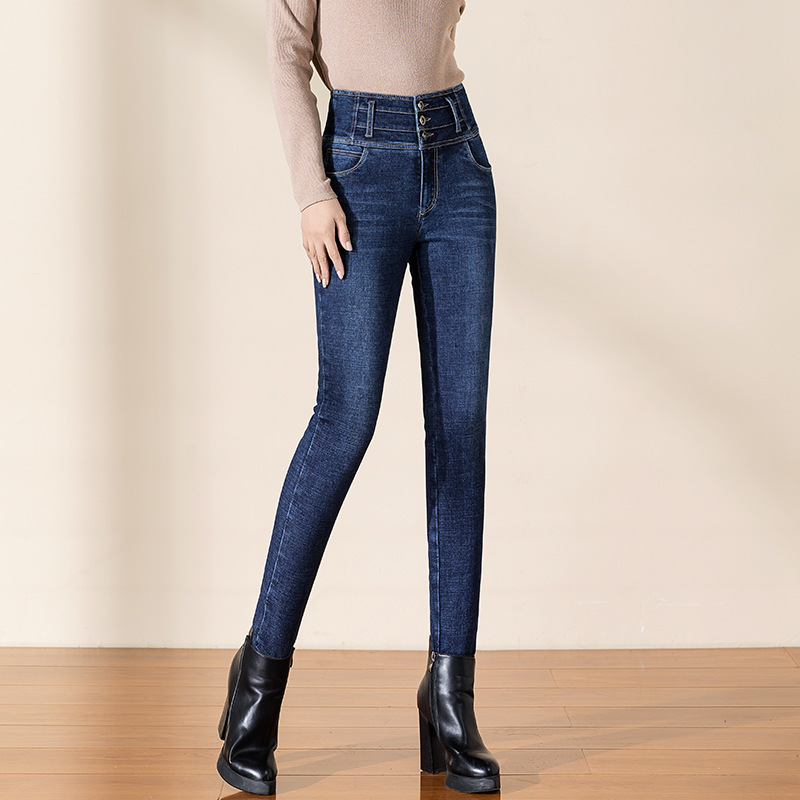 Shuchan 90% White Duck Down Denim Pants High Waisted Jeans Thick Warm Full Length Button Fly Skinny Pencil Pants High Street