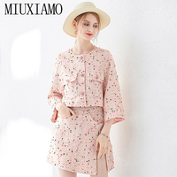 MIUXIMAO 2019 Early Autumn New Temperament Overskirt Casual Style Loose Coat Two piece Socialite Dress Suit Women
