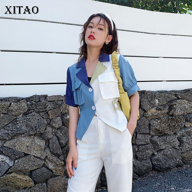 XITAO Original Niche Women Patchwork Asymmetry Sense Of Design Fashion Turn Down Collar Shirt 2020 Summer New Top Casual GCC3595
