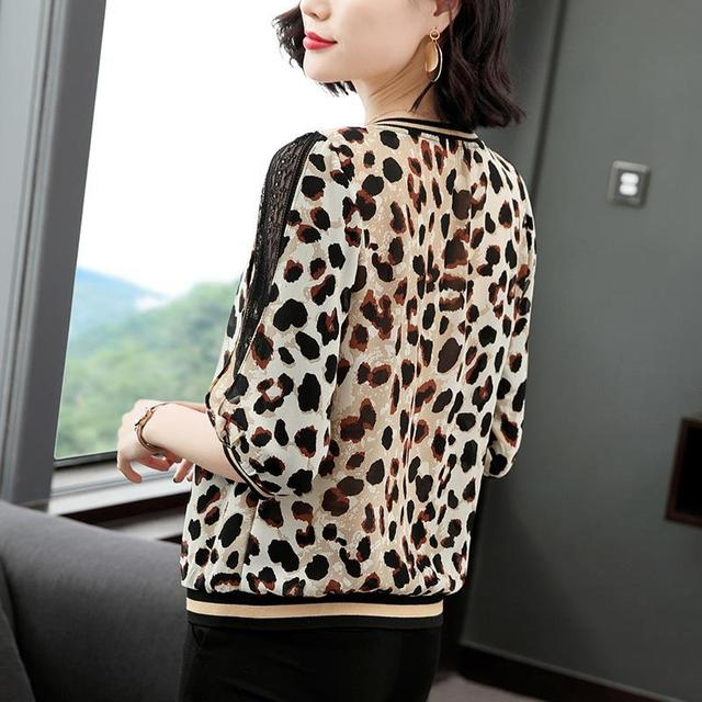 New Women Spring Summer Blouses Shirt Women Casual O-Neck Hollow Out Leopard Blouses Loose Tops High Quality K34 3