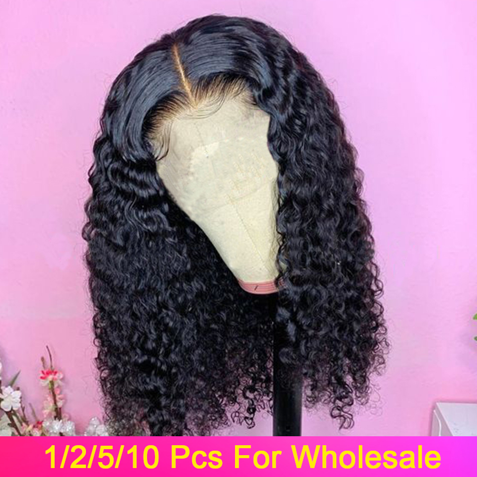 Curly Bob Wig Human Hair Short Lace Front Human Hair Bob Wigs 1/2/5/10 Pcs/Lot 150% Malaysian Remy Hair Lace Frontal Wigs
