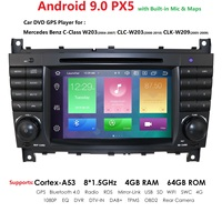 2 Din Android 9 4GB 64GB Car Auto Radio DVD for Mercedes Benz W203 2004 2007 W209 CLC W203 2008 2010 GPS PX5 Navigation Player