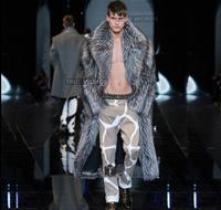 Autumn faux mink fur leather jacket mens winter thicken warm long fur leather coat men loose jackets fashion B206