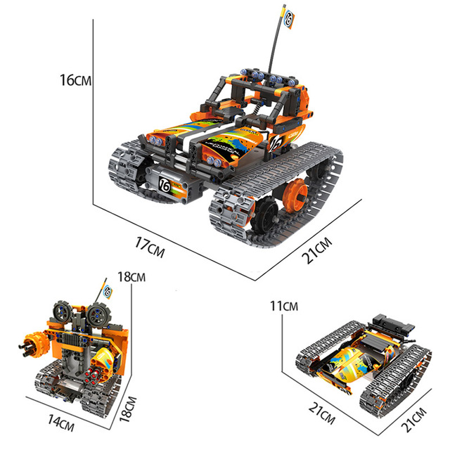 Technic Building Blocks DIY RC Car Remote Control Robot Racer Stunt Car 353pcs Building Blocks Bricks Toys For children Gifts 6