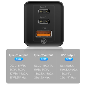 Image 3 - Chargeur rapide Baseus 65W GaN Type C PD Charge rapide 4.0 QC3.0 prise ue US 3 Ports USB chargeur Portable pour iPhone 12 Huawei Xiaomi