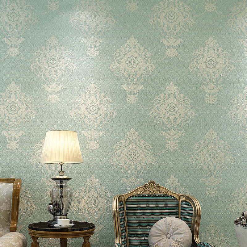 Simple European Style Bump Foaming Non-woven Wallpaper 3D Damascus Bedroom Living Room Wall Wallpaper