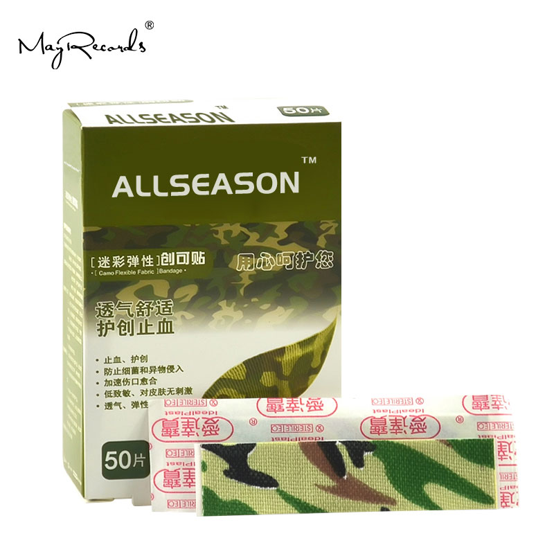 Free Shipping 150PCs/3Boxes 1.9cmX7.6cm Camouflage Adhesive Bandages Band Aid First Aid Survival Household