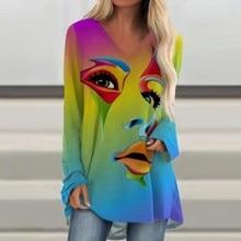 Mulheres abstrato rosto impresso blusa camisa vintage manga longa irregular tops pulôver casual streetwear blusa plus size 5xl