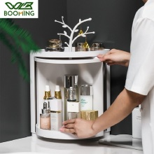 WBBOOMING Bathroom 90 Degree Corner Makeup Organizer Plastic Rotating Bathroom Multi Functional Free Punching Storage Rack