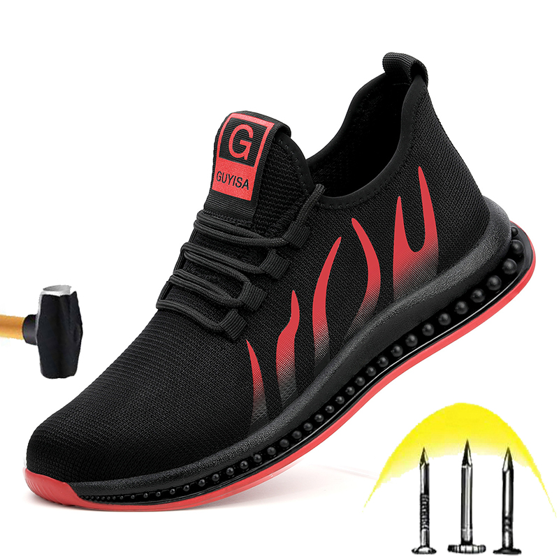Cheap New Wear-resistant Safety Shoes 2020 Men's Spring Steel Head Anti-smashing Non-slip Work Boots Soft Lightweight Breathable Shoes