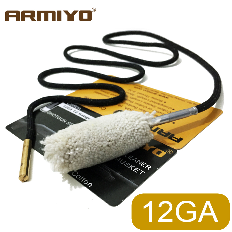 Armiyo Cotton 12GA 18.5mm Gun Barrel Cleaner Cleaning Swabs Shooting Hunting Accessories Screw Thread Size 8-32