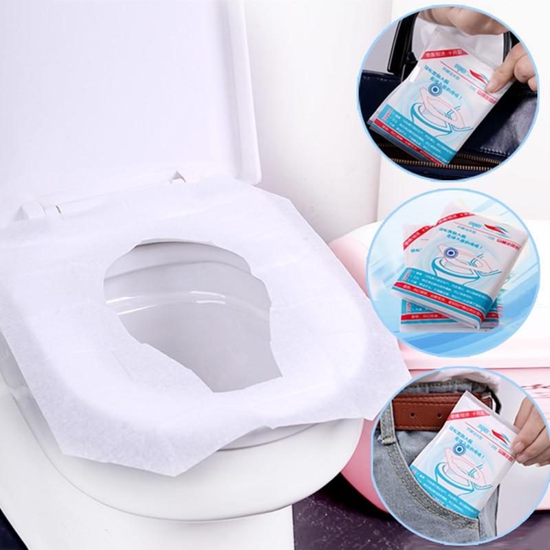 ขายส่ง 10 ชิ้น/แพ็ค Disposable สุขาที่นั่งห้องน้ำกระดาษ Pad สำหรับ Camping ห้องน้ำอุปกรณ์เสริม Dropshipping