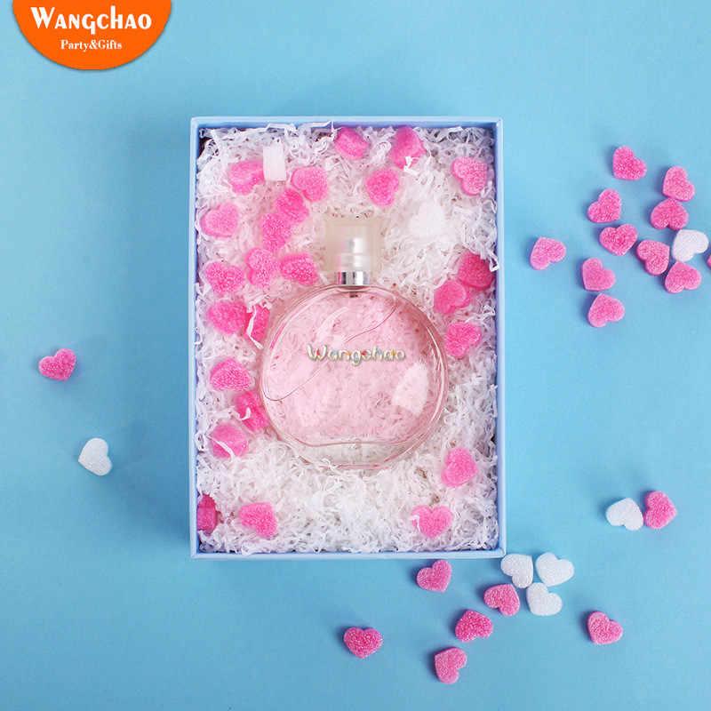 50 ピース/バッグピンクミニハート愛ビーズ泡ストリップスライムギフトボックスふわふわスライムフィラー汚泥粘土包装結婚式の花ボックスフィラー
