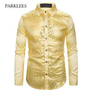 Image 1 - זהב נצנצים נצנצים חולצות גברים 2019 אופנה חדשה מועדון לילה משי סאטן Camisa Masculina Slim Fit שלב דיסקו תחתונית זינגר homme