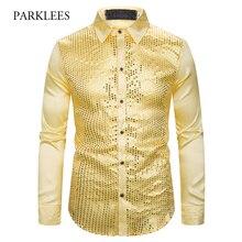Gold Pailletten Glitter Shirts Männer 2019 Neue Mode Nacht Club Silk Satin Camisa Masculina Slim Fit Bühne Disco Sänger Chemise homme