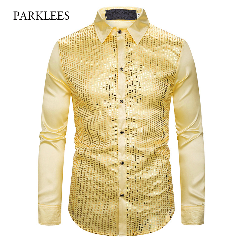 Gold Sequin Glitter Shirts Men 2019 New Fashion Night Club Silk Satin Camisa Masculina Slim Fit Stage Disco Singer Chemise Homme