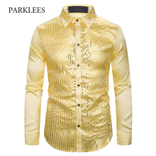 Gold Sequin Glitter Shirts Men 2019 New Fashion Night Club Silk Satin Camisa Masculina Slim Fit Stage Disco Singer Chemise Homme