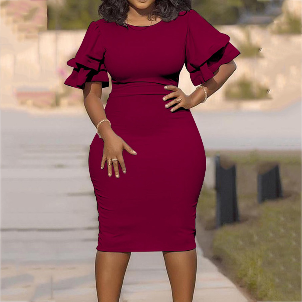 Plus Size Red Bodycon Midi Dress African Women Pink Cocktail Party Dresses Elegant Vintage Office Ruffle Sleeve Summer Dress
