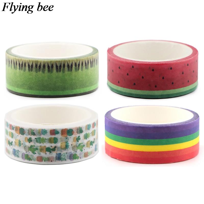 Flyingbee 4pcs/set Creative Fruit Tape Watermelon Adhesive Tape Kiwi Fruit Paper Washi Tape Cactus Partysu Tapes Set Gifts X0644
